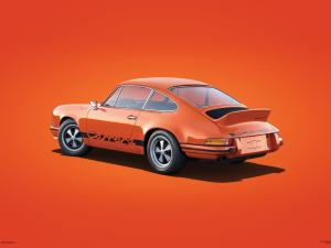 Porsche 911 RS - Tangerine - Colors of Speed Poster image 1 on GreatBritishMotorShows.com