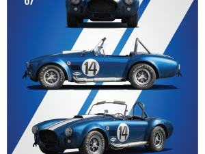 Shelby-Ford AC Cobra Mk III - Blue - 1965 - Limited Poster image 1 on GreatBritishMotorShows.com