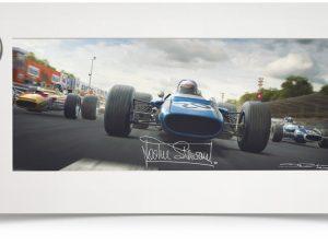 The Scot's Italian Job - Artwork Signed - Small Print Black wood Signed image 2 on GreatBritishMotorShows.com