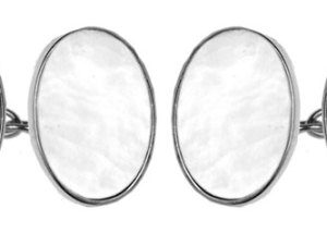 Mother of Pearl Oval Double Chain Sterling Silver Cufflinks