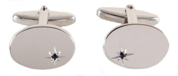 Oval Sapphire Star Set Rhodium plated Cufflinks
