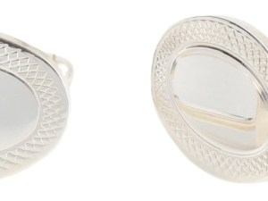 Oval Sterling Silver Hallmarked Cufflinks with Engraved Edge