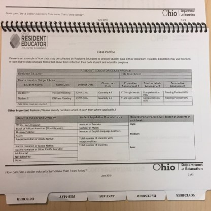 Resident Educator Guide Year 1 class profile page
