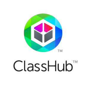 Classhub logo - round blue green circle with 3 dimensional cube
