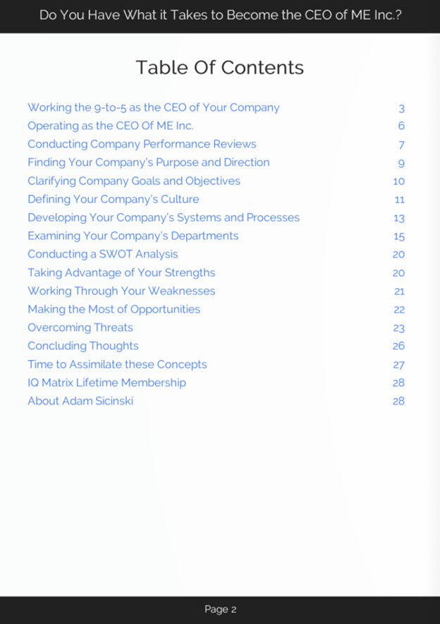 The CEO of Me Inc eBook Table of Contents
