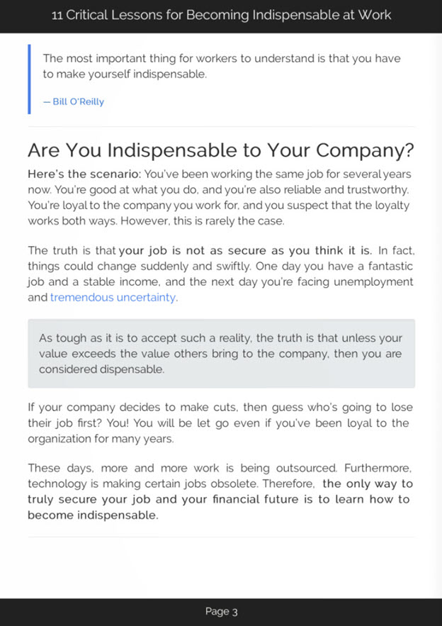Becoming Indispensable at Work eBook Introduction