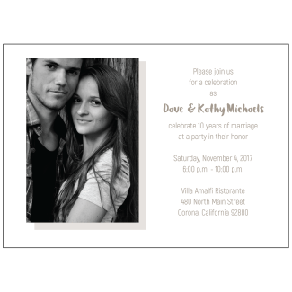 10th Wedding Anniversary Party Invitation with Photo