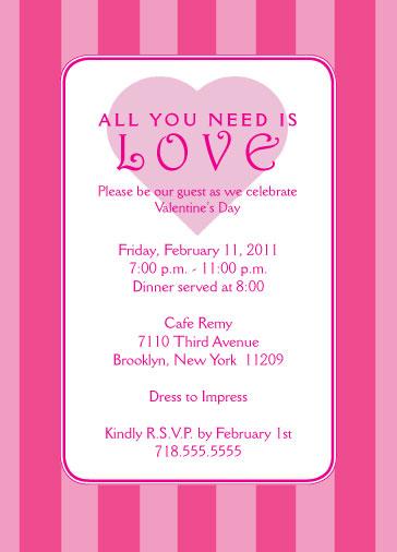 Magenta Stripes - Valentines Day Party Invitation