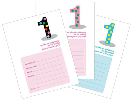 Kid's First Birthday Party Invitations