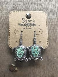 Silver and Turquoise Beaded Turtle Earrings