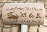 Custom Wedding Mallet Live, Love, Eat Crabs Design with ...