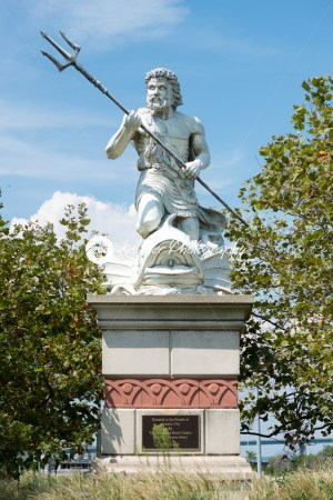 A large public statue of King Neptune that welcomes all to Atlantic City Aquarium in New Jersey - Kelleher Photography Store