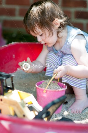 Adorable little girl playing in a sandbox - Kelleher Photography Store