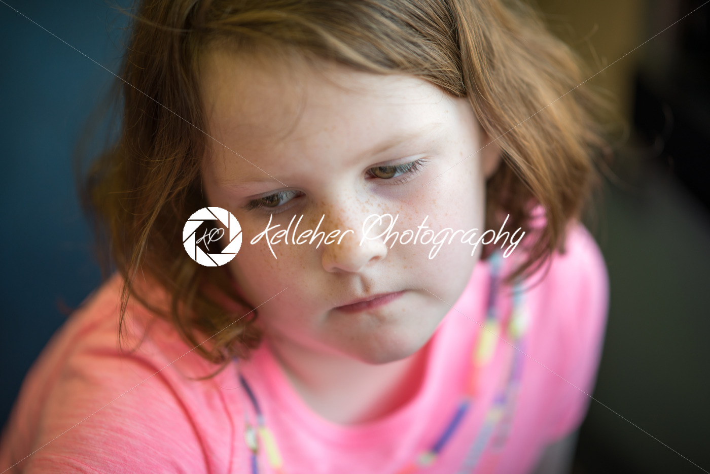 Close Portrait of Girl Thinking Sitting Down - Kelleher Photography Store