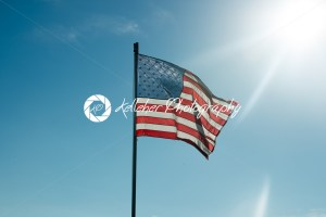 Flag of the United States of America with sunflare - Kelleher Photography Store