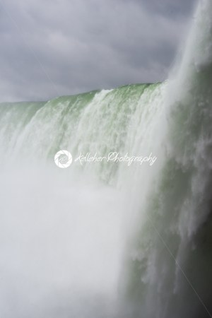 Niagara Falls on a cloudy overcast day with perfect clouds. View from Canadian side. View from below. - Kelleher Photography Store