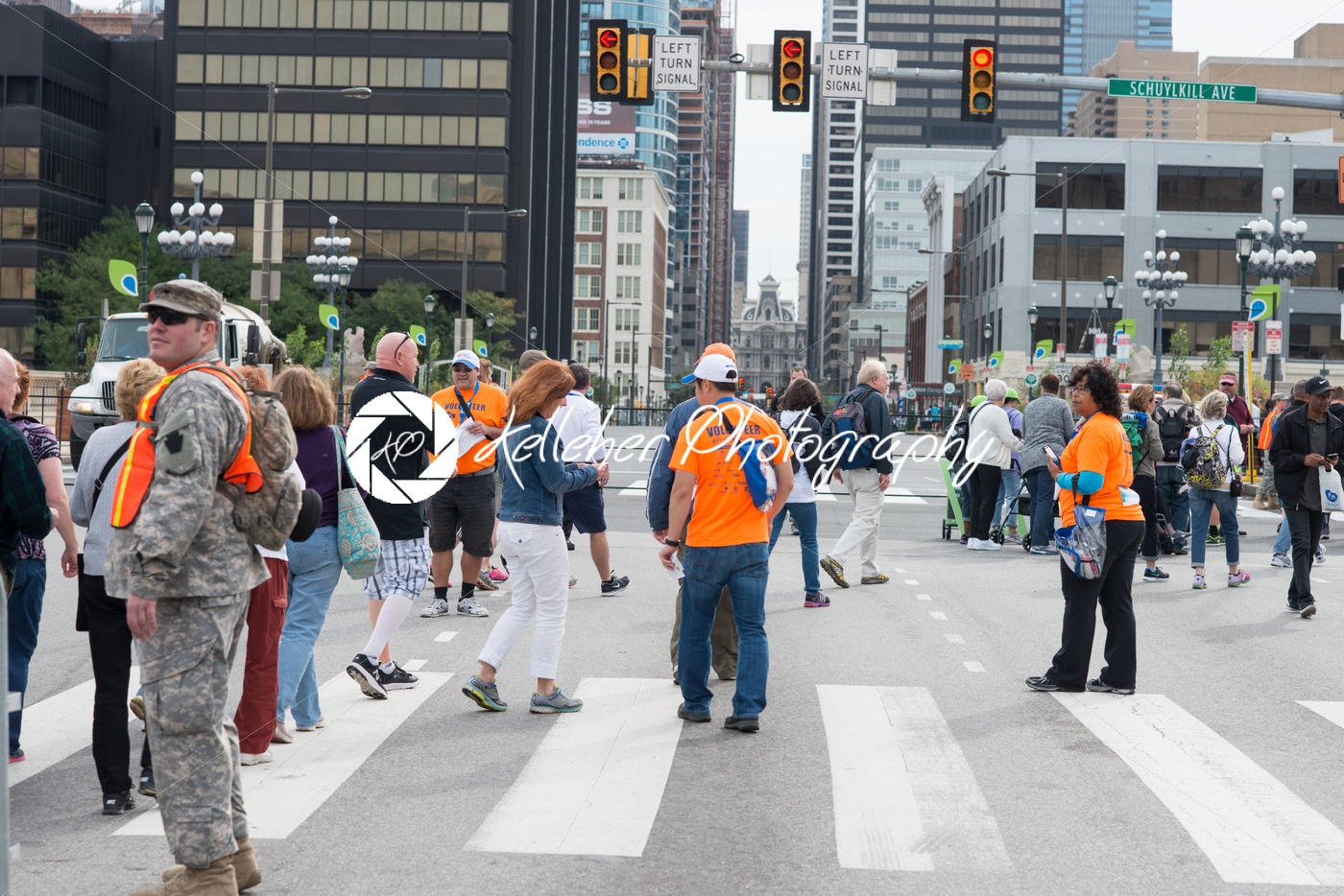 PHILADELPHIA, PA – SEPTEMBER 26: Crowds of people arrive on the Benjamin Franklin Parkway in Center City Philadelphia to see Pope Francis at the World Meeting of Families on September 26, 2015 - Kelleher Photography Store