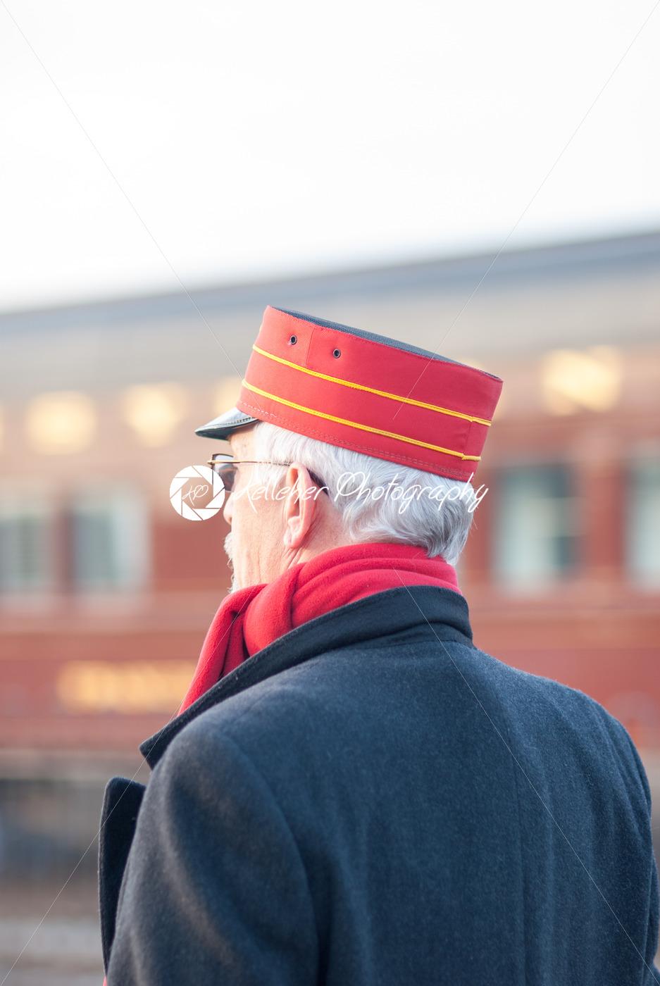 STRASBURG, PA – DECEMBER 15: Conductor standing watching Steam Locomotive in Strasburg, Pennsylvania on December 15, 2012 - Kelleher Photography Store