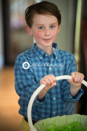 Young Boy Outside Dressed Up for Easter holding Basket - Kelleher Photography Store