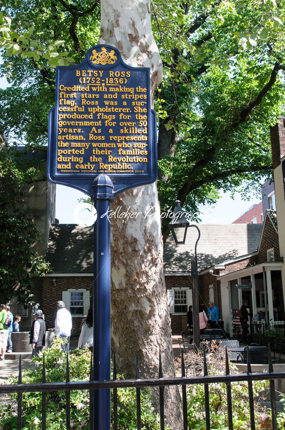 PHILADELPHIA, PA – MAY 14: Historic sign in front of the Betsy Ross House at 239 Arch Street on May 14, 2015 - Kelleher Photography Store