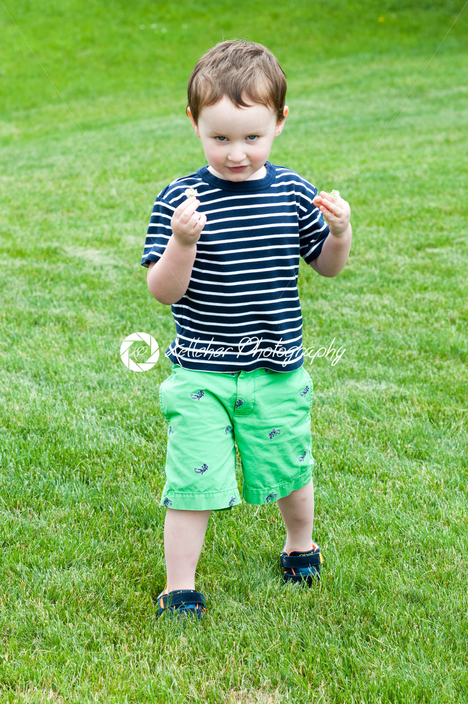 Portrait of a cute adorable little boy child running on grass - Kelleher Photography Store