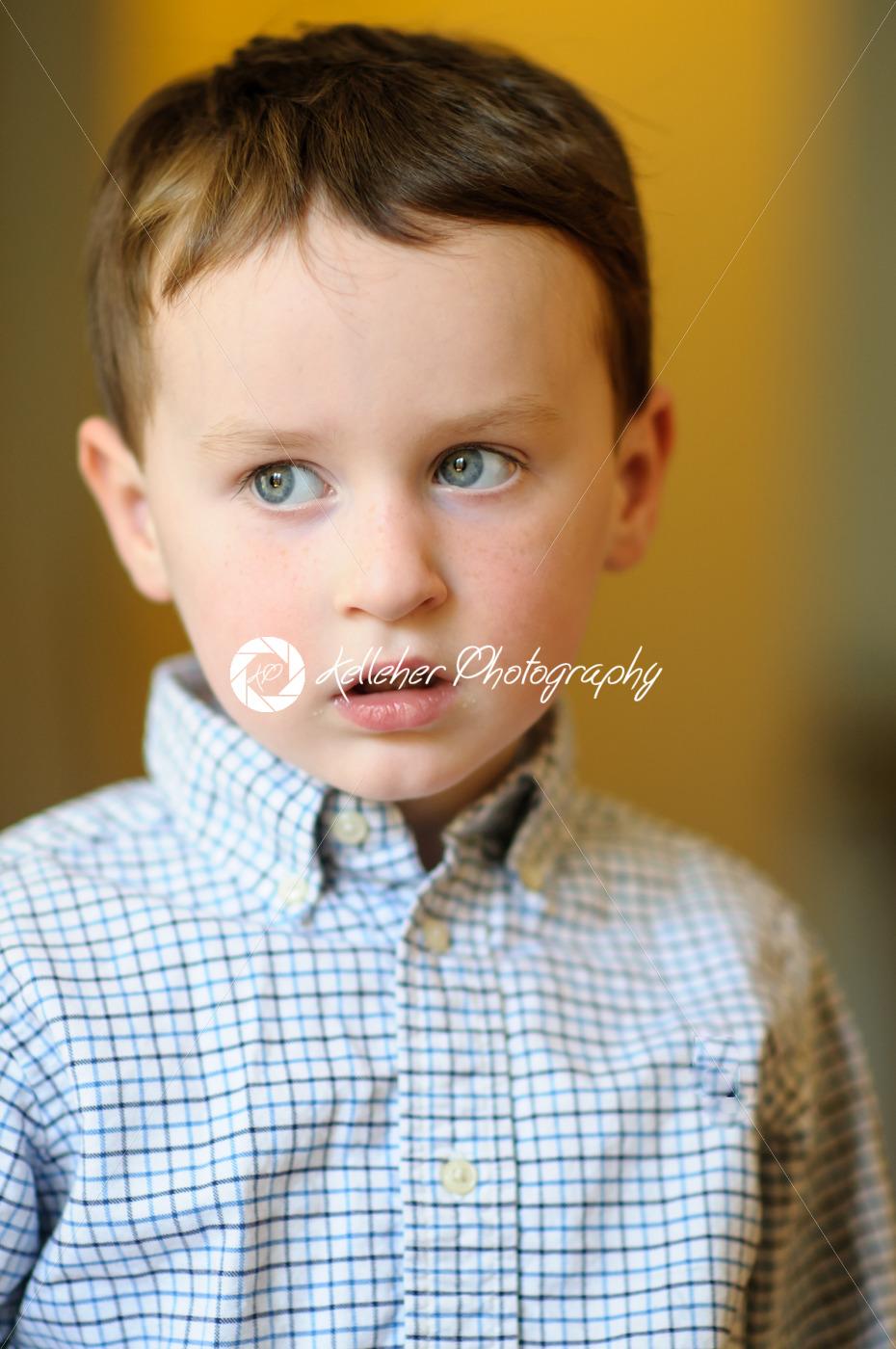 Portrait of a cute little boy inside - Kelleher Photography Store