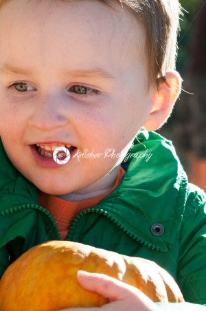 Young toddler boy outside holding a pumpkin with pumpkin fields in the background - Kelleher Photography Store