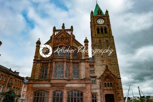 DERRY, NORTHERN IRELAND – AUGUST 27, 2017: Guildhall is the city hall of Derry - Kelleher Photography Store