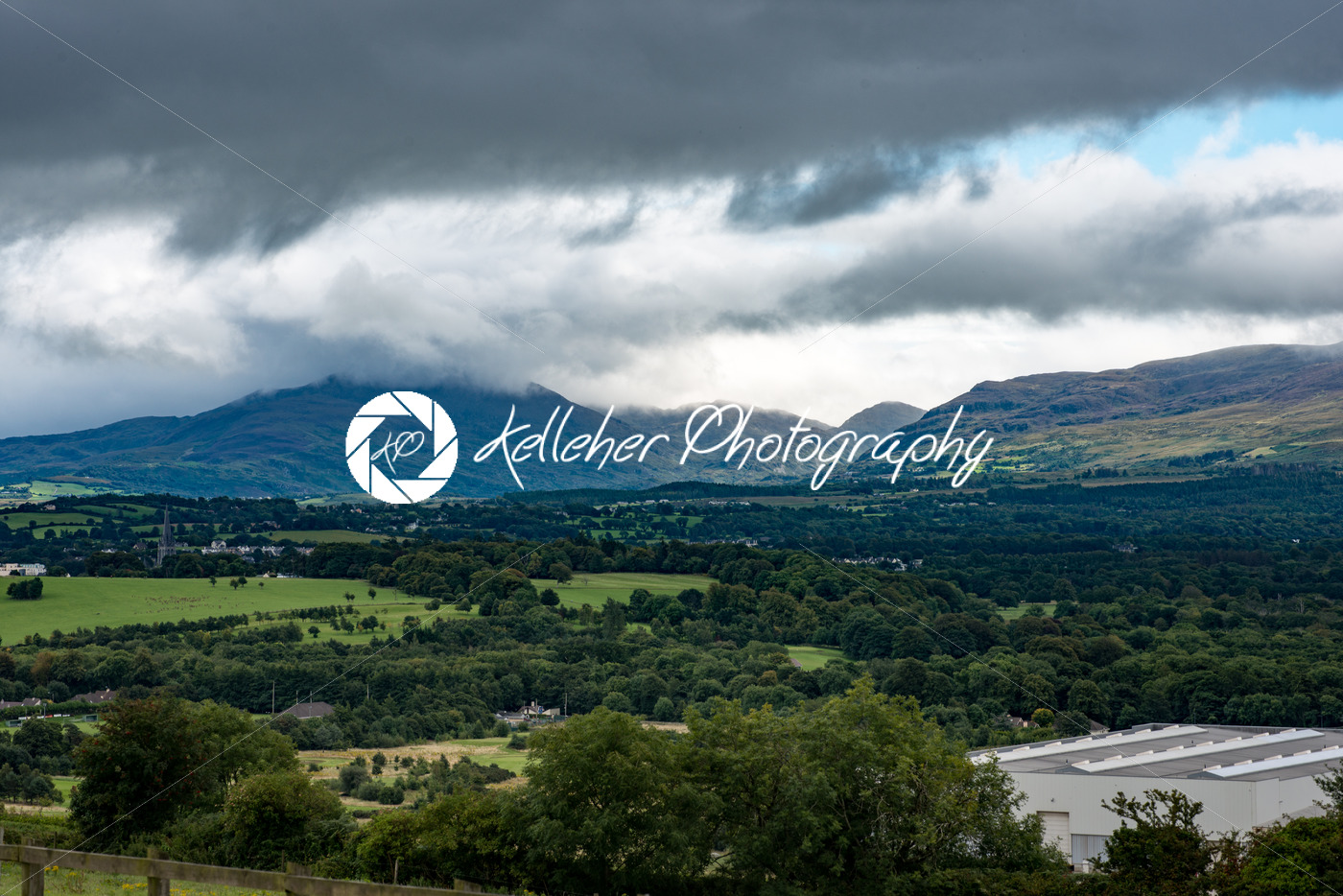 Mountains, Fields and Lake on Cloudy Day in Killarney Ireland