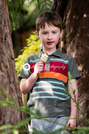 Young little boy portrait eating popsicle looking at camera - Kelleher Photography Store
