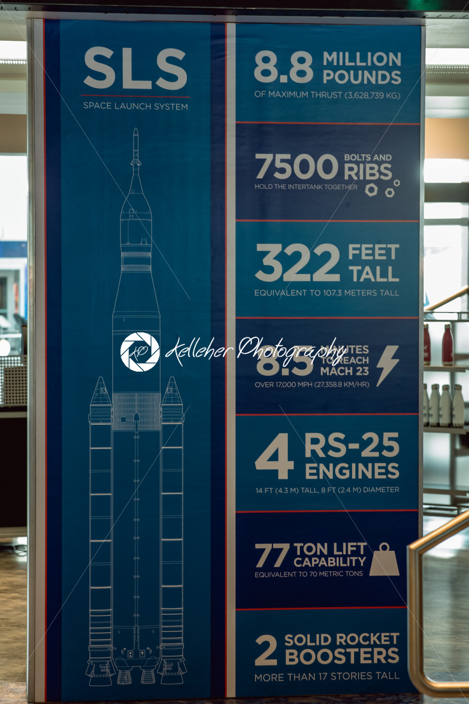 Cape Canaveral, Florida – August 13, 2018: SLS information board at NASA Kennedy Space Center - Kelleher Photography Store
