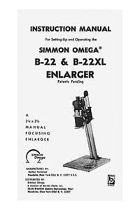 Omega B-22 / B22 Enlarger Instruction Manual with parts list