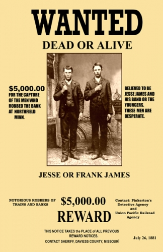 Frank Amp Jesse James Wanted 11x17 Poster