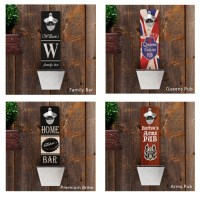 Wall Mounted Bottle Opener & Cap Catcher (Personalized)
