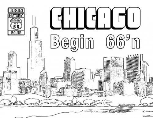 Chicago Skyline Simple Drawing Sketch Coloring Page