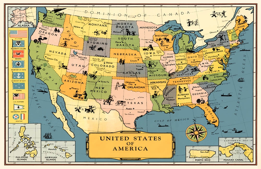 u s map poster