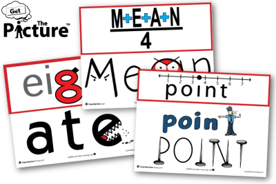 Product image for Tricky Math Terms including example cards of Mean, Eight, and Point, Get the Picture logo