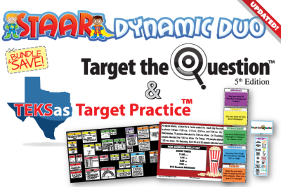 STAAR Dynamic Duo product image, including logo and product images from Target the Question and TEKSas Target Practice, Bundle & Save icon and Updated banner