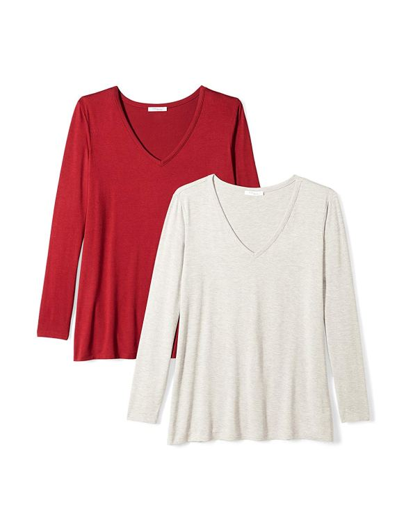 534570e7acc Daily Ritual Women s Plus Size Jersey Long-Sleeve V-Neck T-Shirt