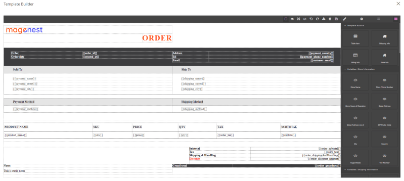 add store and order information to custom pdf