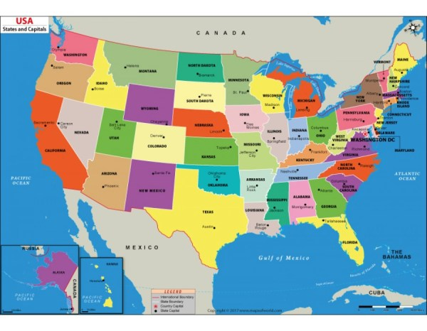 Buy US States and Capitals Map Online Digital US States