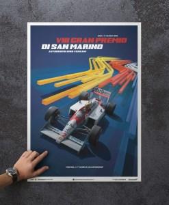 Ayrton Senna F1 San Marino Poster McLaren MP44 2