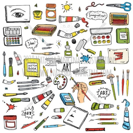Art tools setArt. Hand Drawn Doodle Art and Craft Tools Colorful Icons Set - Natasha Pankina Illustrations