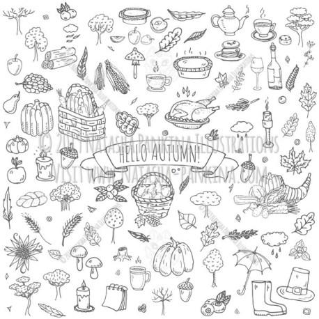 Autumn. Hand Drawn Doodle Fall Season Icons Set - Natasha Pankina Illustrations