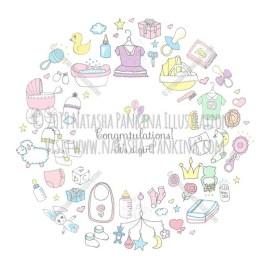 Baby Girl. Hand Drawn Doodle Baby Shower Colorful Icons Set - Natasha Pankina Illustrations