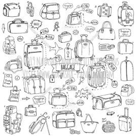Baggage. Hand Drawn Doodle Traveling Icons Collection. - Natasha Pankina Illustrations