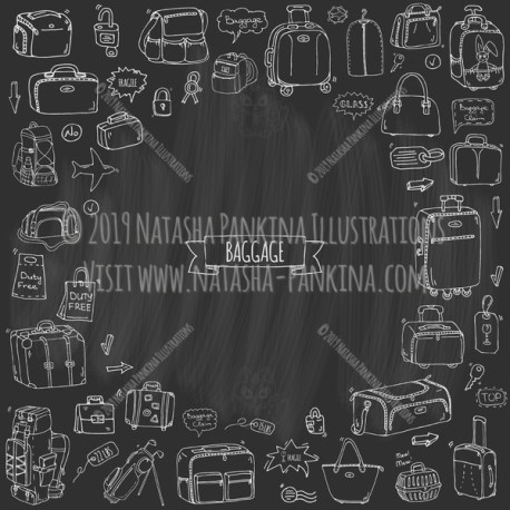 Baggage. Hand Drawn Doodle Traveling Icons Collection. Contour shape. Outlined. With place for your text. Chalkboard style. - Natasha Pankina Illustrations