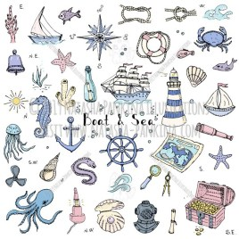 Boat and Sea. Hand Drawn Doodle Marine Colorful Icons Set - Natasha Pankina Illustrations