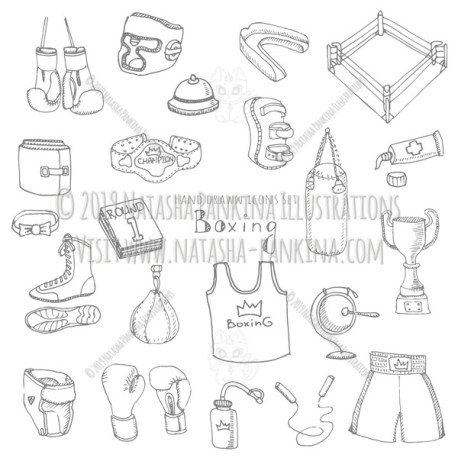 Boxing. Hand Drawn Doodle Sport Icons Set - Natasha Pankina Illustrations