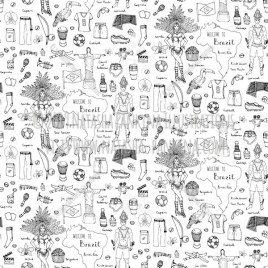Brazil. Hand Drawn Doodle Brazilian Icons Collection. Seamless background. Unseamed pattern. - Natasha Pankina Illustrations